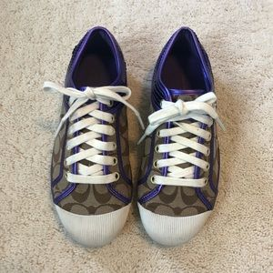Coach tennis shoes in purple, beige, and white